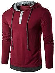 Mens Long Sleeve Hooded T-Shirt Slim Fit Hoodie Shirt