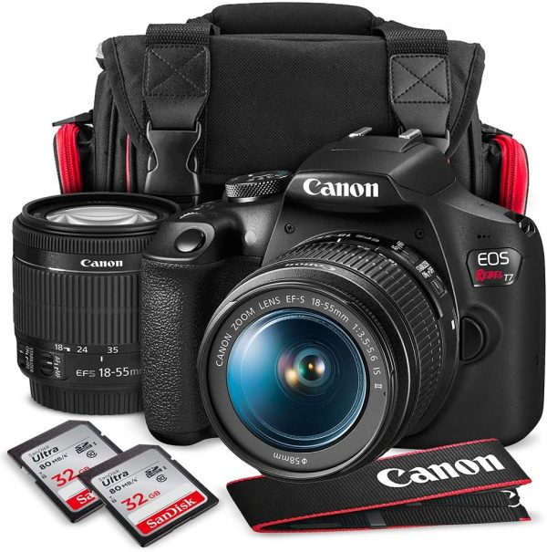 Canon T7 EOS Rebel DSLR Camera with EF-S 18-55mm f/3.5-5.6 is II Lens W/Telephoto & Wideangle Lens 3 Pc. Filter Kit + Tripod + Flash & 2 X 32GB SD Card and Basic Accessory Kit