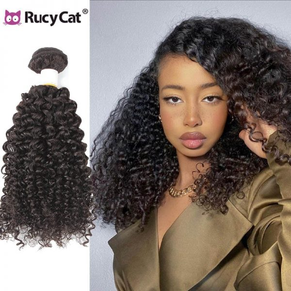 Rucycat Indian Kinky Curly Hair Bundles Human Hair Bundles 8 30 inches long Hair Weave Natural Color Remy Human Hair Extension