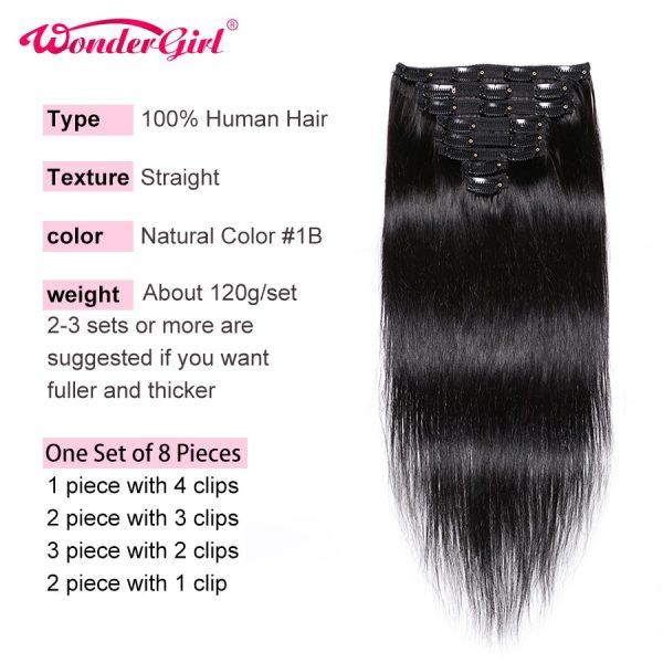 Hair Clips In Human Hair Extensions Straight Hair Bundles 10-26 Inch Remy Brazilian 8Pcs/Lot Full Head Hair Wonder girl
