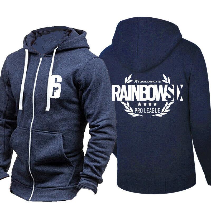 Rainbow Six Men Thin Hoodie Printed Sweatshirt Casual Zipper Hooded Coat