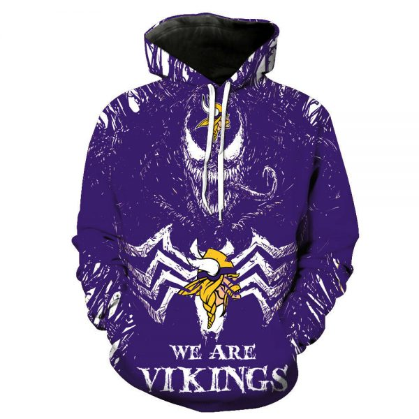 Minnesota Vikings Hoodies Football Hooded Sweatshirts Pullover Fans Jacket Coat