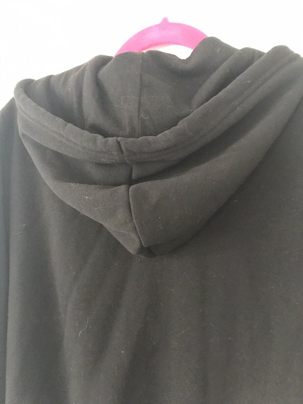 H&M Black Hoodie With White Stripe On Sleeves Size Small, Zipper & Toggles