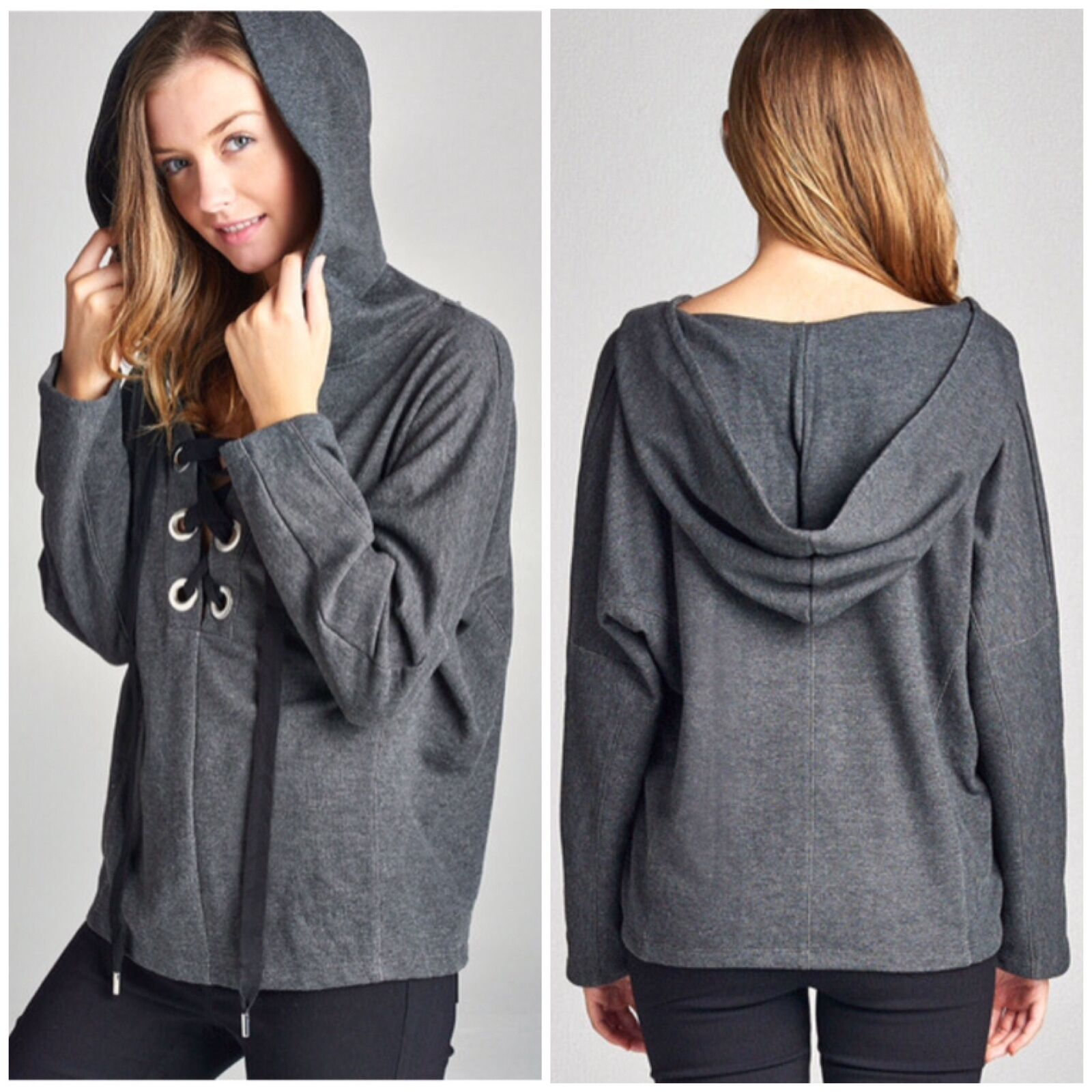 Long Dolman Sleeve Lace-Up Relaxed Charcoal French Terry Pull Over Hoodie Top