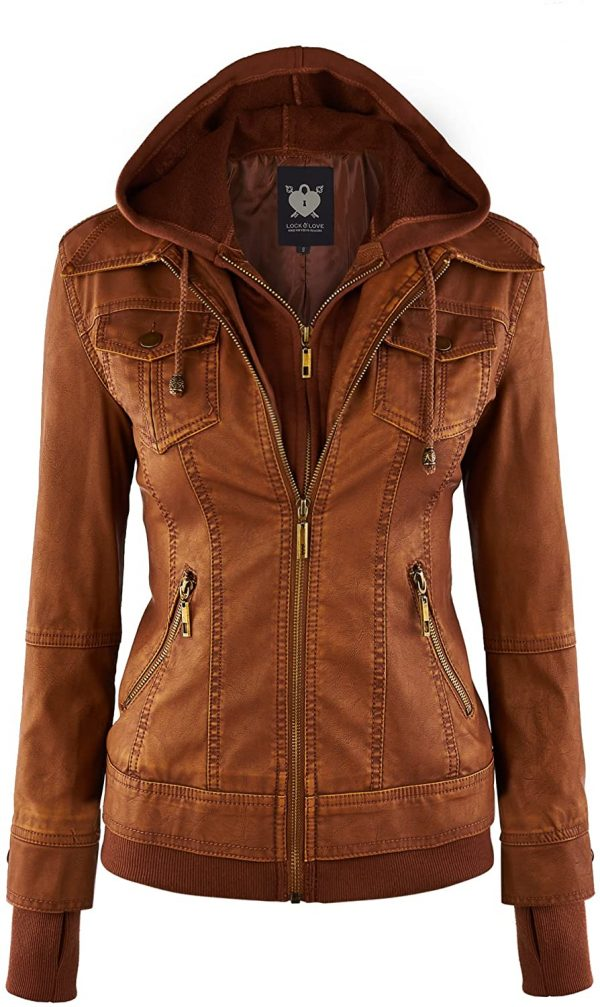 Women's Hooded Leather Moto Biker Jacket