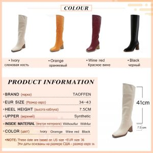 Taoffen Women Knee High Heel Boots