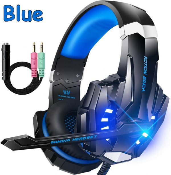Gaming Headset Headphone 3.5mm Stereo Jack w/ Mic LED Light for Xbox PS4 PC Blue