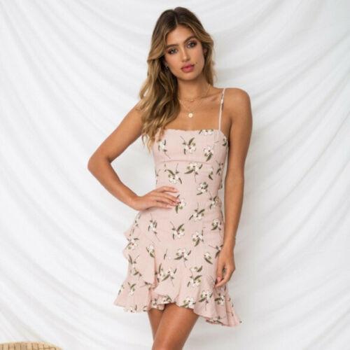 Sexy Off Shoulder Women Summer Short Dress Chiffon Floral Beach Party Dresses