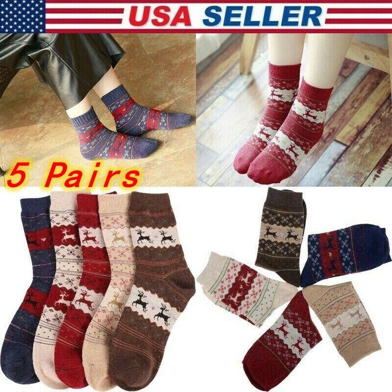 Women's 5 Pair Christmas Socks, Crew Socks, Great X-Mas Gift for Holiday